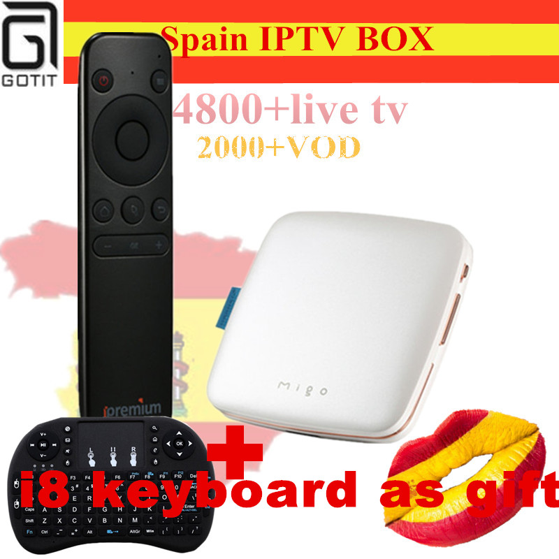 Spain Ipremium Migo Mini Android 5.1 Smart TV Box+Pro IPTV Box H.265 4K UHD Israel Russian Europe USA  4800+Channels sep top Box