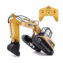 Huina toys 350 15 canales 2.4g 1/12 excavadora rc 1:12 del coche de rc con la batería de carga rtg
