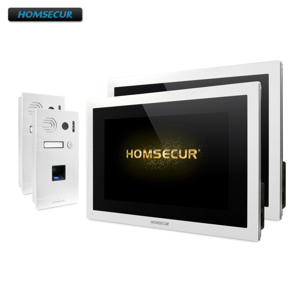 HOMSECUR 4 Wire Hands-free Video Door Entry Phone Call System Fingerprint Access BC061HD-S+BM114HD-SHOMSECUR 4 Wire Hands-free Video Door Entry Phone Call System Fingerprint Access BC061HD-S+BM114HD-S