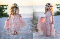 Cheap Pink Flower Girls' Dresses For Wedding 2019 Lace Applique Ruffles Kids Formal Wear Sleeveless Long Beach Girl's Pageant G