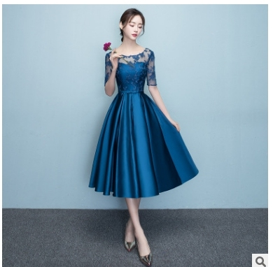 Short Navy Blue Modest Bridesmaids Dresses With Lace Sleeves A-line Knee  Length Satin Informal Wedding Party Dresses Custom Made 3b79e2e8a549