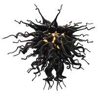 Contemporanea Nero di Arte Lampadario In Vetro Soffiato Lampadario Illuminazione con Sorgente LED-in Lampadari da Luci e illuminazione su
