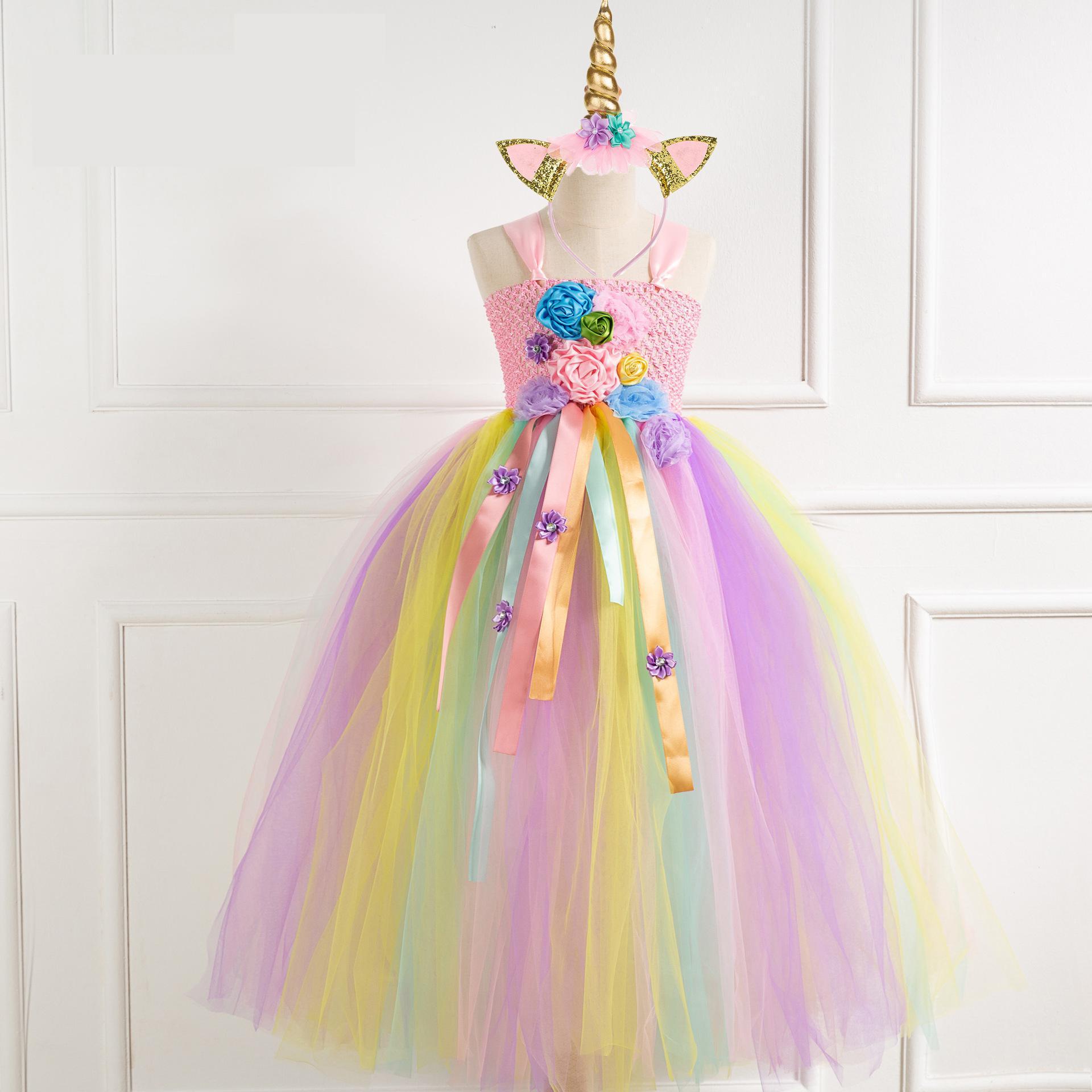 Rainbow Girls Unicorn Tutu Dress Kids Flower Birthday Party Dress Girls Fancy Dress For Children Christmas Halloween Costumes