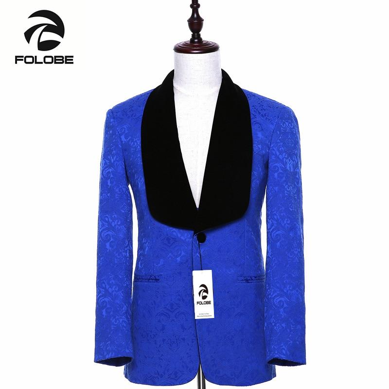 Chaqueta para hombre de marca nueva, chaqueta de traje azul real ajustada, estilo inglés, abrigo terno masculino, Blazer de talla grande M19