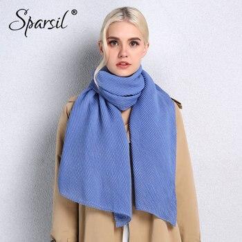 3754a8474407 Sparsil 2019 Новый саржевый плиссированный женский шарф мягкий хлопок  большой платок ...