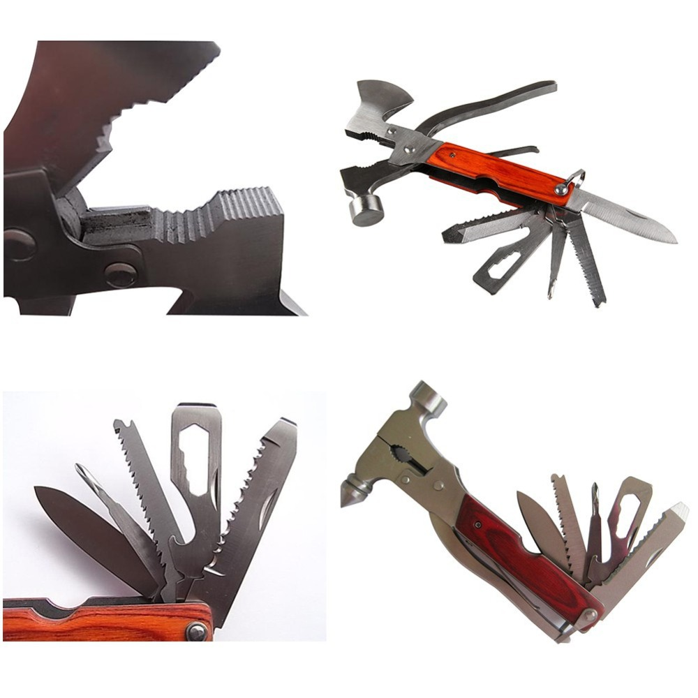 Multi-function Outdoor Survival Hammer Axe AX Pliers Knife Screwdriver Folding Camping Tool Set Stainless multi tool outdoor survival knife 7 in 1 pocket multi function tools set mini foldaway plers knife screwdriver