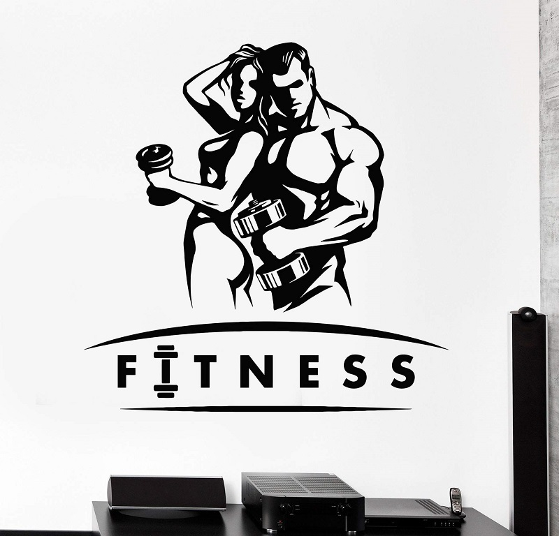 Muscle Girl Man Beautiful Strong Body Dumbbell Bodybuilding Fitness Vinyl Wall Decal Gym Decorative Wall Sticker 2GY20-in Wall Stickers from Home & Garden