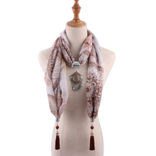 women pendant jewelry viscose scarfs mujer shawl necklace apparel accessory tassel print alloy dendant scarf shawls