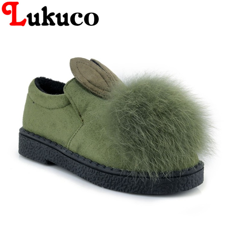 2018 Lukuco casual lady flats plus size 39 40 41 42 43 44 45 snow boots warm fur design shoes short plush inside free shipping