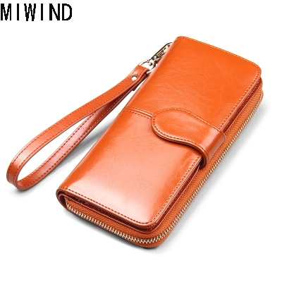 Brand Womens Wallets Genuine Leather Female Long Wallet Cow Leather Luxury Brand Card Women Zipper Large capacity Purse TSD1190