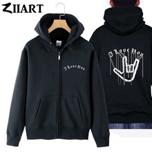 ZIIART chain Gothic i love you hand gesture heavy metal rock couple clothes boy man male full zip hooded Coats Jackets
