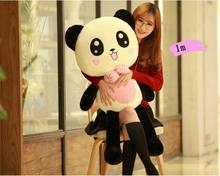 lovely cartoon panda plush toy large 100cm bowtie happy panda soft doll hug pillow birthday gift h0860(China)