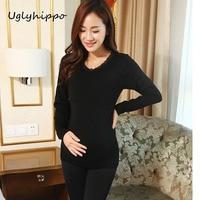 Modal Soft Winter Autumn Maternity Long Johns Adjustable Waist Pregnancy Underwear Set For Pregnant Women MN11