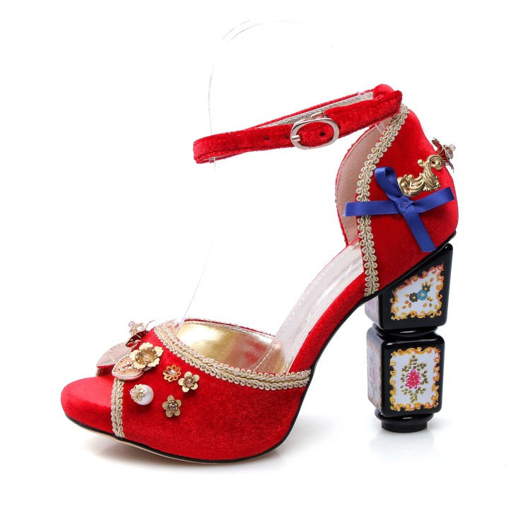 822835b33199e Court Style Flowers Metal Decoration Women Pumps Vintage Handmade Crystal  Ankle Strap Dress Shoes Print Flower