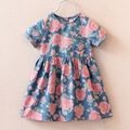 2017 горячие продаем моды платье девочки милые джинсовые платья детей повседневная одежда летом с коротким рукавом печати ребенок платья