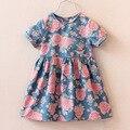 2017 de la Alta manera de la venta caliente vestido de niña linda vestidos de mezclilla casual kids ropa de verano de manga corta niño de impresión vestidos