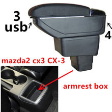 For mazda2 Demio mod sckatic armrest box central Store content box with cup holder ashtray USB cx 3 armrests box cx3(China)