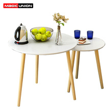 Magic Union Modern Round Wood Center Table Living Room Furniture Contemporary Sofa Side Table Wooden Casual Tea Table