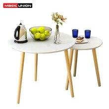 Magie Lunion Rond Moderne Table Centrale En Bois Salon Meuble Contemporain Canapé Table Dappoint En Bois Décontracté Table À Thé