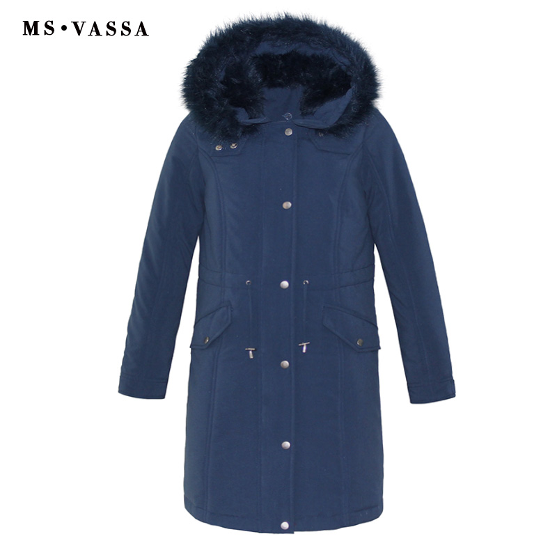 MS VASSA New Women Long   Parkas   2018 Winter Autumn High Quality Lades Jacket Warm Padding Coats Removed Hood with Artificial Fur