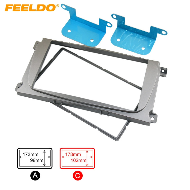 FEELDO Silver 2DIN Car Refitting Radio Stereo DVD Frame Fascia Dash Panel Installation Kits For Ford Focus (04~10) #AM1828