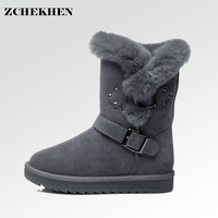 2017 Australia Fashion Women Suede Leather Fur Ugss Genuine Snow Boots Natural Fur Snow Boots Warm