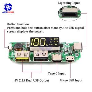 Image 5 - LED Dual USB 5V 2.4A Micro/Type C/Lightning USB Power Bank 18650คณะกรรมการชาร์จOvercharge overdischargeป้องกันการลัดวงจร