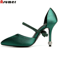 ASUMER Black Green Fashion Spring Autumn Shoes Woman Pointed Toe Elegant Prom Shoes Sexy Women High