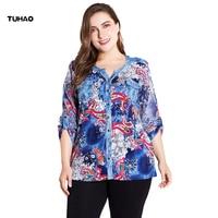 TUHAO 2018 Autumn Women's Printed Blouse Shirt Women Tops Elegant Plus Size 6XL 5XL Office Ladies Blouses Blusas Female ZPZ114