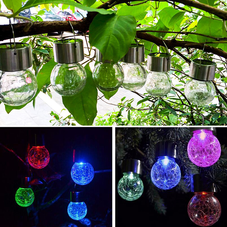 BEIAIDI 4PCS/Lot 7 Color Changing Solar Garden Hanging Lamp Crackle Glass Globe Lantern Ball Solar Landscape Patio Hanging Light one light frosted glass antique rust hanging lantern