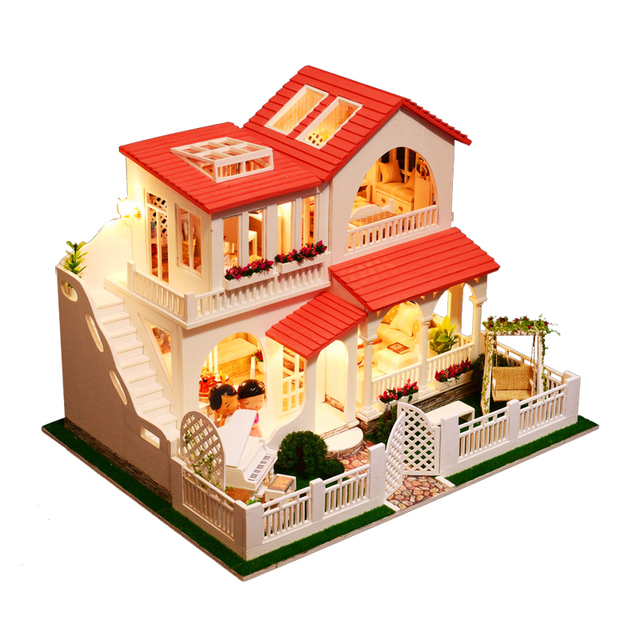Iie Create Diy Doll House Pink Dream Casa Miniature Dollhouse Wooden Toys For Children Room Decoration Kids Gifts