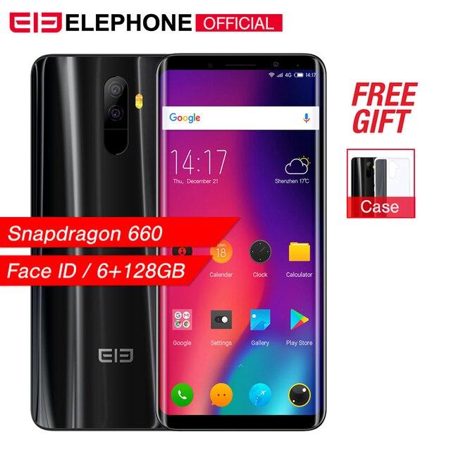 Elephone U Pro 5.99'' 6GB+128GB Mobile Phone Android 8.0 Snapdragon 660 Octa Core 13MP Face ID Fingerprint NFC 4G LTE Smartphone
