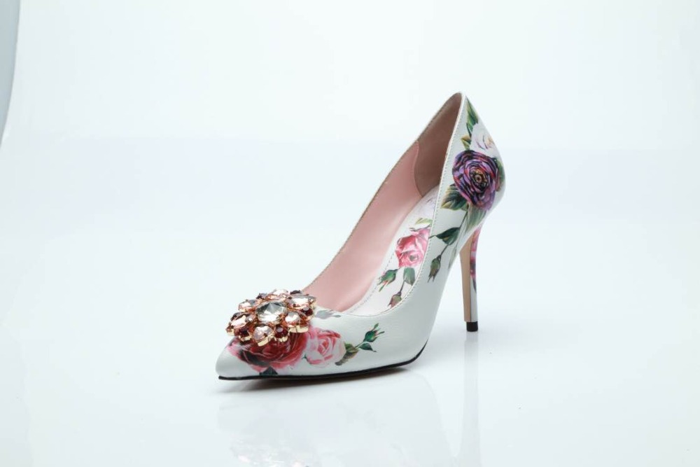 2019 Newest Rose Flower Printed Leather Pumps 10CM Pointed Toe High Heels Party 6CM Crystal Front Wedding Shoes