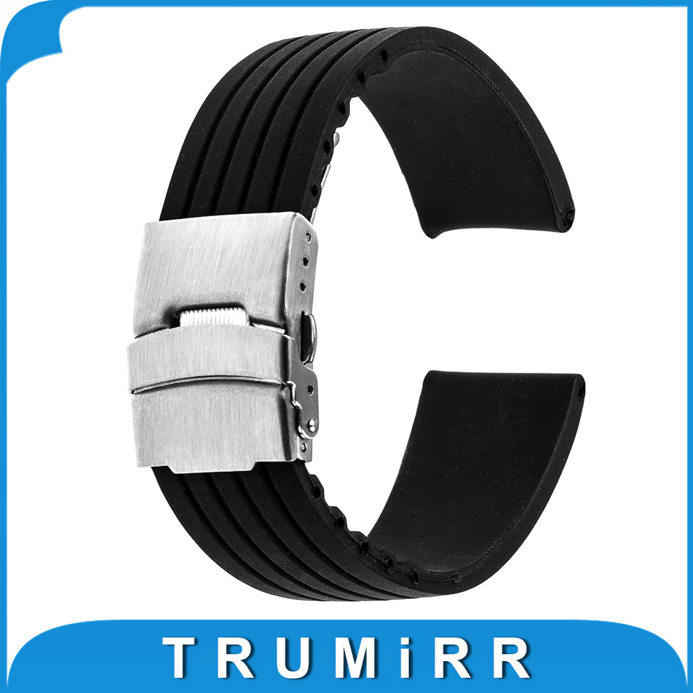 17mm 18mm 19mm 20mm 21mm 22mm 23mm 24mm Universal Silicone Rubber Watchband Stainless Steel Buckle Watch