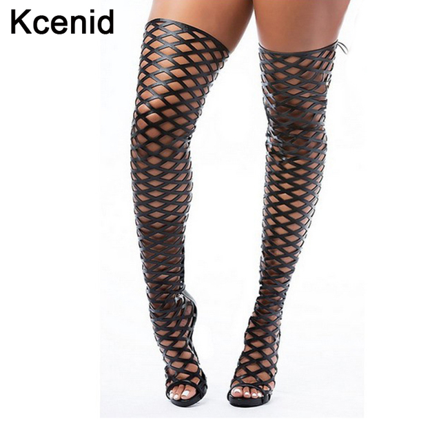 Kcenid summer dance women shoes high heel sexy women cage thigh high over  the knee boots woman peep toe gladiator sandals black ce581b2fe345
