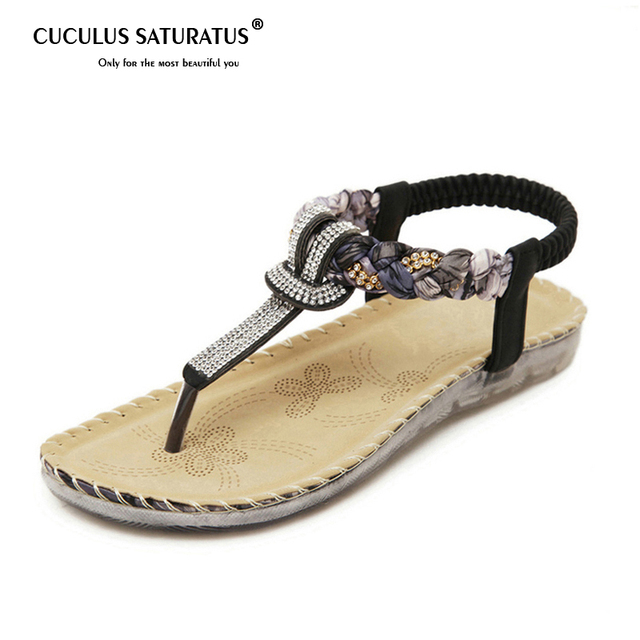 19b5f6d16f59 Cuculus Women Summer Sandals Bling Beading Plaftorm Wedges Shoes Woman Slid  Slip-on Roman Flip Flops Size 35-42 527-1