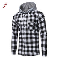 2017 Time Limited Rushed Full Standard Men Autumn Hoodies Cotton Winter Coat Sleeve Plaid Casual Button