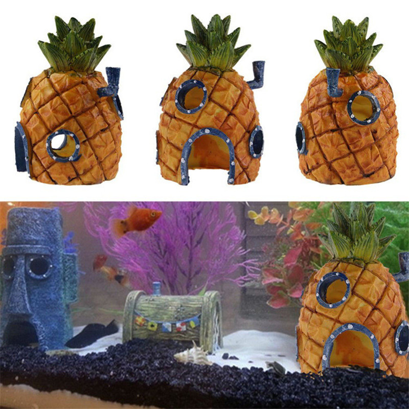 Small Aquarium SpongeBob Decoration Pineapple House Squidward Easter Island Fish Tank Cartoon Decoration For Kids