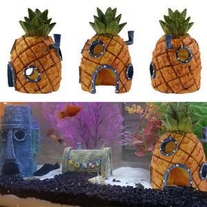 Kleine Aquarium Spongebob Decoratie Ananas Huis Squidward Paaseiland Aquarium Cartoon Decoratie Voor Kids(China)
