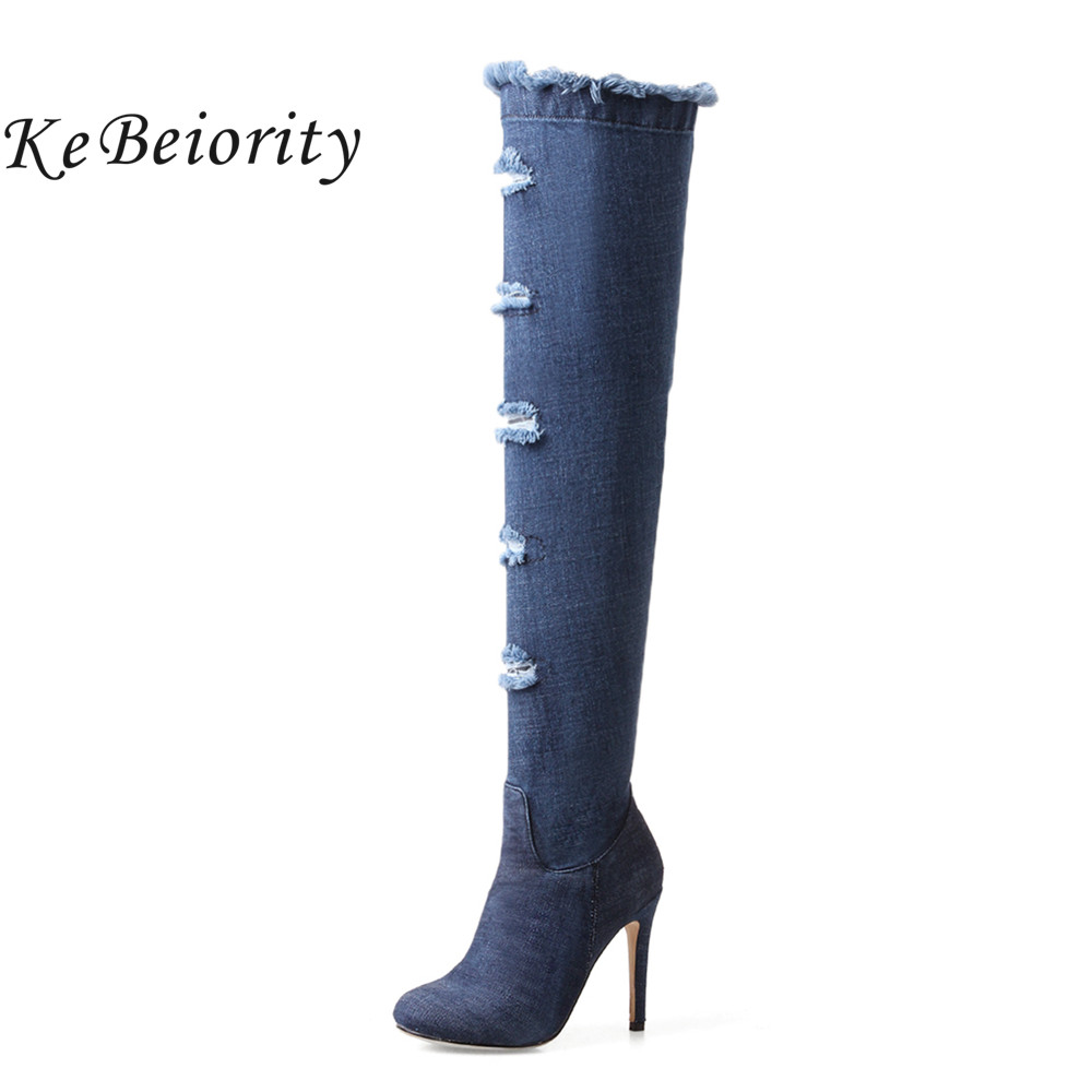 KEBEIORITY Sexy Denim Over Knee Boots Women High Heel Pointed Toe High Boots Female Fall Blue Thigh Boots Shoes Plus Size hot sale women denim long thigh high heel boots sexy peep toe boots summer over knee cowboy holes sandals women shoes