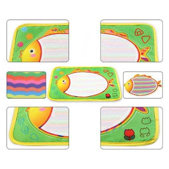 Kids Water Drawing Painting Writing Mat Board &Magic Pen Doodle Toy Gift (29x19cm)