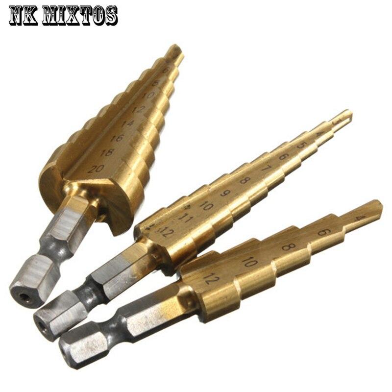 3 Stücke Metric Spiral Flute Schritt Trat Bohrer HSS Stahl 4241 kegel Bohrer Werkzeug-set Lochschneider 4-12 MM 4-20 MM 3-12 MM