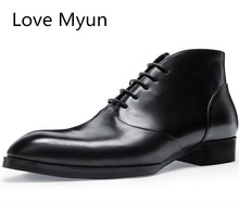 Autumn wienter new mens genuine leather boots fashion pointed toe business dress chelsea boots shoes men work ankle boots 36 44