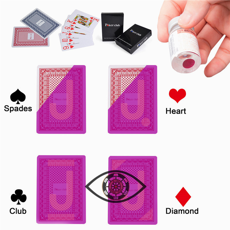 Poker Club Marked Playing Cards Magic Invisible Cards for UV Contact Lenses Cheat in Casino Gambling Anti Poker Cheat
