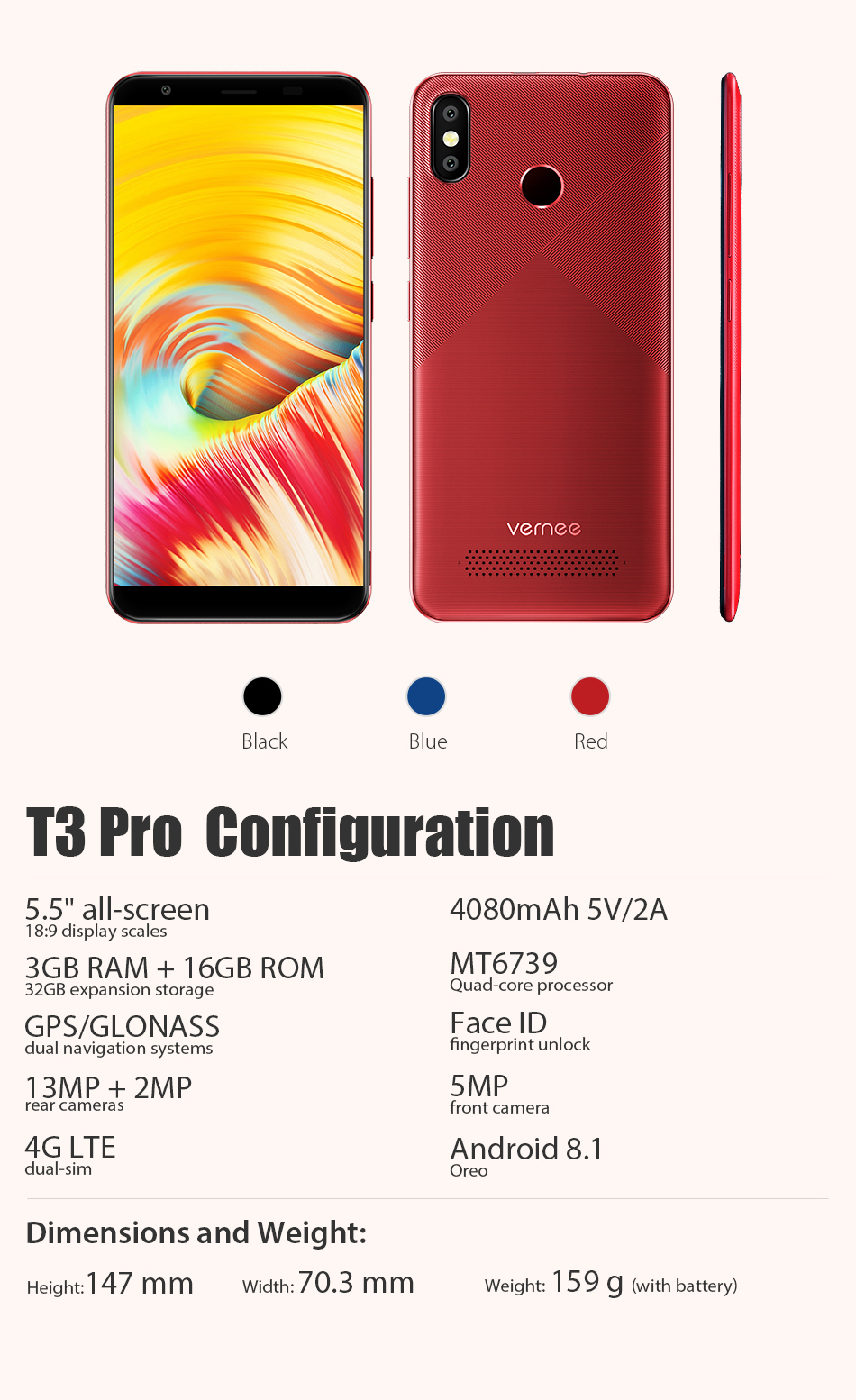 Original Vernee T3 Pro 3GB RAM 16GB ROM Android 8 1 Quad-Core Mobile Phone  5 5 Inch 4080mAh 5MP+13MP Smartphone with Free Gift