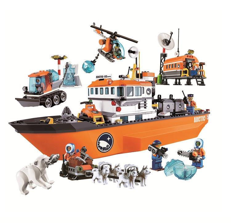 10443 BELA City Polar Adventure Arctic Ice Breaker Ship Model Building Blocks Classic Figure Toys Children Compatible Legoingly стоимость