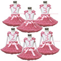 Birthday Dot 1ST 2ND 3RD White Pettitop Top Shirt Dusty Pink Bow Pettiskirt Dress Set 1-8Y MAPSA0534