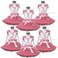 De aniversário de 1º 2º 3º branco Pettitop Top Dusty rosa Pettiskirt conjunto vestido 1-8a MAPSA0534