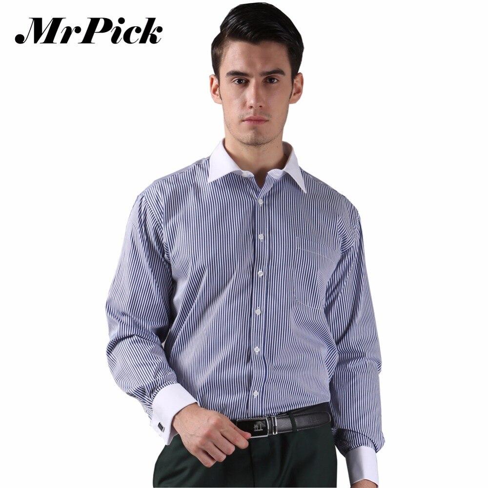 百思买 ) }}French Cuff Button Men Dress Shirts 2016 New Non Iron Luxury Slim Long Sleeve