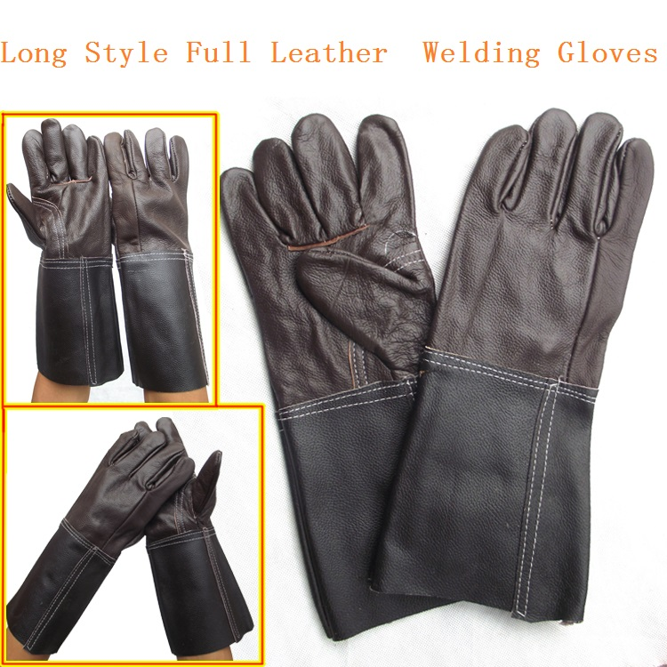 Long Style Full Cowhide Dark Color Welding Gloves Wear resisting Protective Work Gloves
